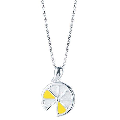 Silverage Collana con pendente Fette Sterling Silver Limone - Sterling D'oro In Rilievo Bracciali