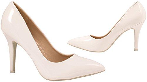 Elara Spitze Damen Pumps | Bequeme Lack Stilettos | Elegante High Heels Weiß