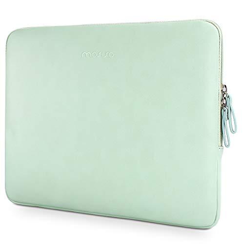 MOSISO PU Leder Sleeve Hülle Kompatibel 13-13,3 Zoll MacBook Pro Retina/MacBook Air/Laptop/iPad Pro 12,9 Zoll, Super gepolstert Premium Wasserresistent Aktentasche Notebooktasche, Mint Grün