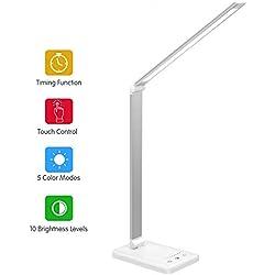 Lampada da Tavolo LED, USB Ricaricabile Lampada da Scrivania,2000mAh-Pieghevole Tocco-Controllo Lampade, 5 Modalità Graduali di Colore,10 Livelli Dimmerabili,Timer 30/60 mins,Funzione di memoria