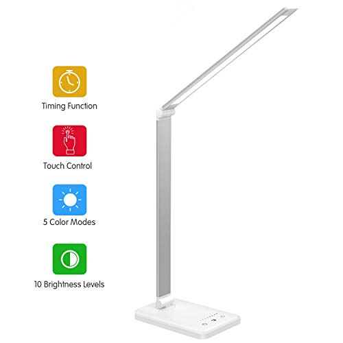 Lámpara Escritorio LED,Lámparas de Mesa USB Regulable Recargable-2000mAh Plegable Luz(5 Modos,10 Niveles...