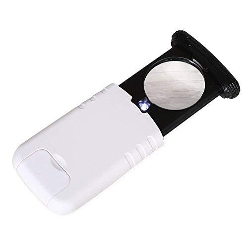 LED-Licht tragbare Handlupen ziehen 8-fach-Lupe mit 1 LED-Licht-HD-Objektiv für alte Mann-Buch-Leseschmuck-Identifikations-Uhren aus DIY Handwerk schnitzen und reparieren Lupe weiß -