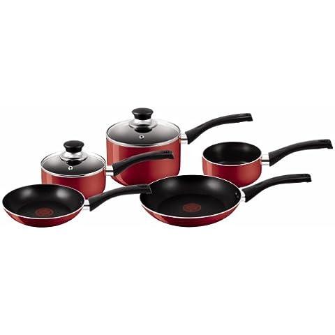 Tefal Bistro - Batería de cocina de 5 piezas, color rojo