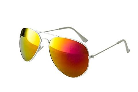 EL-Sunprotect® Pilotenbrille Fliegerbrille Sonnenbrille Brille Top Design Weiß Bunt Verspiegelt