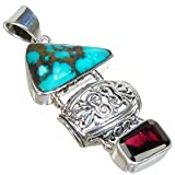 Large Copper Turquoise Sterling Silver Pendant