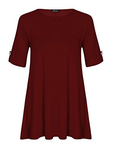 Fast Fashion Damen Schaukel Kleid Plus Size Auftauchen Taste Ärmel Wein