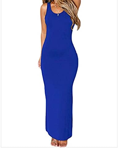 Bling-Bling Womens Royal Blue Hollowed Back Maxi Jersey Dress Size L