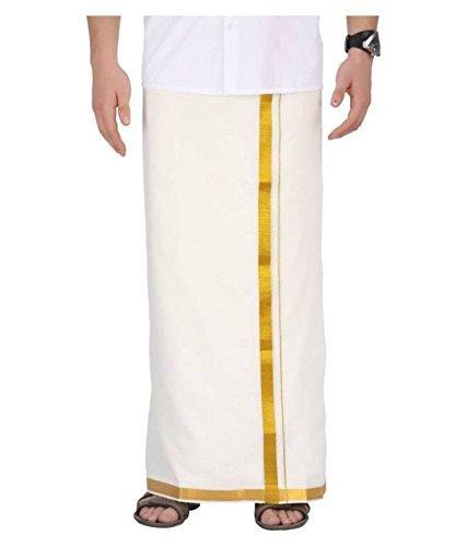 Men's off-white Cotton Dhoti Lungis & Mundus 2 meter By Creatif Ventures