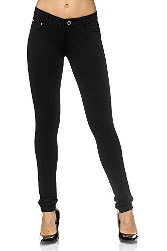 Elara Damen Stretch Hose   Skinny Fit   Jeggings   Chunkyrayan A2488 Black-38 -