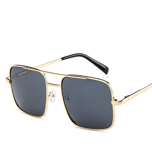 DEFG&FAD Quadratische Sonnenbrille-Männer, die Sonnenbrille für Frauen Fahren Metal Designer Cool Shades Mirror Retro, Black