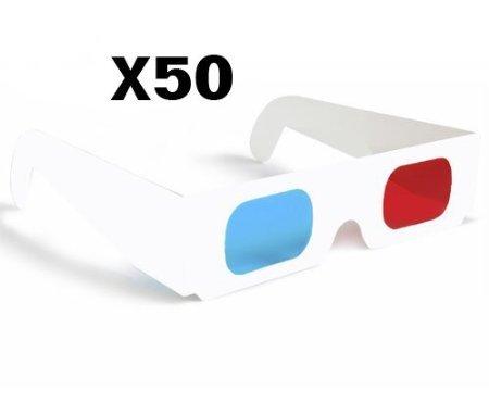 Mercurymall® 3D Brille Anaglyphe 3D Rot/Cyan Blau Papier Karte 3D Brille Anaglyphenbrille weiße