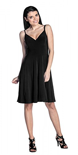 Zeta Ville - Pieghe vestito di seta a media scollo a V cinghietti - donna - 267z Nero