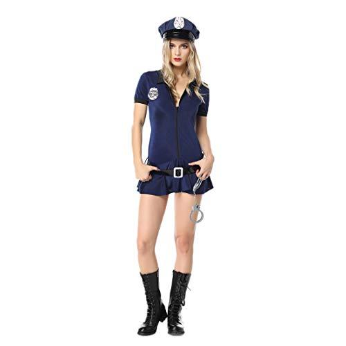 AUSPICIOUSIGN Déguisement Policière Robe De Femme Sexy Costume Police pour Halloween Party Carnaval Cospaly Bar Bleu Foncé (M)