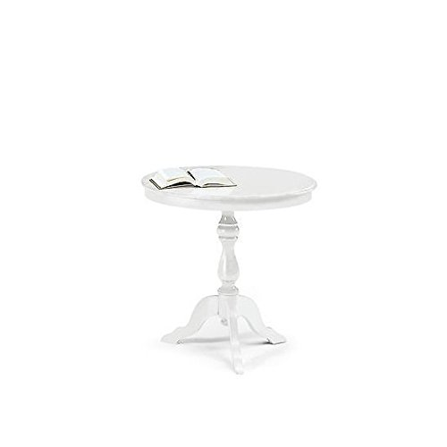 Table ronde blanc mat Diamètre 60 cm Bois massif laqué blanc