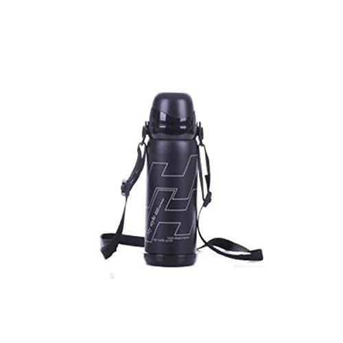 TENGGO Sport-Radfahren Fahrrad Wassertrinken Flasche Camping Wandern Vacuum Wasserkocher 800Ml-Schwarz