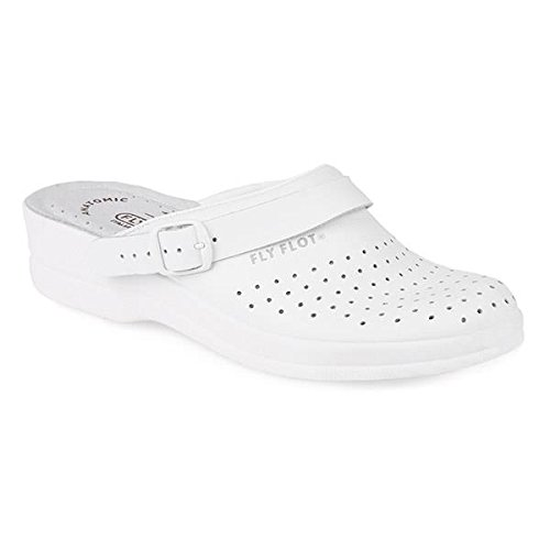 Fly Flot Coated Leather Anatomic Work Clog 301 569 - White Size 5