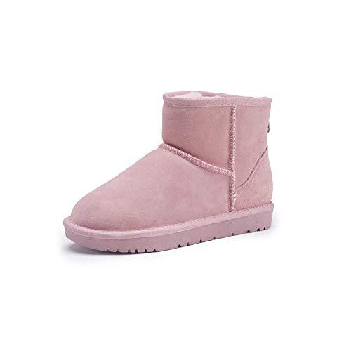 FF Schneeschuhe Weibliche Kurze Stiefel Warme Baumwolle Schuhe Student Verdicken Plus SAMT Echtem Leder Rindsleder Flache Rutschfeste damenstiefel (Farbe : Pink, Size : EU39/UK6.5/CN40)