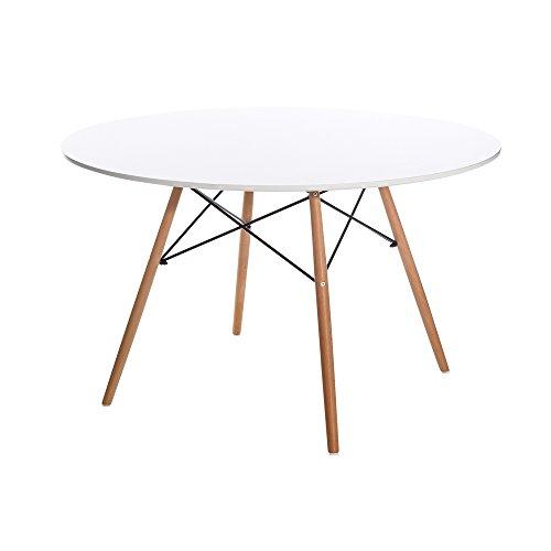 Mesa de comedor de madera blanca pop para salón Factory - Lola Home