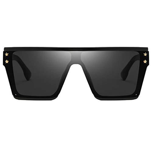 P Prettyia Rechteckig Sonnenbrille UV400-Schutz Übergroße Brillen - Schwarz