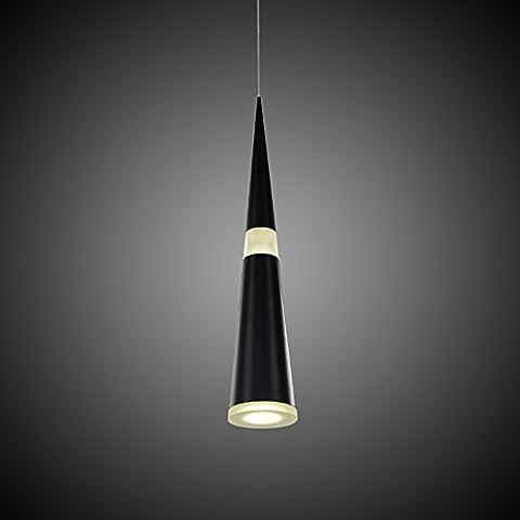 jdong Futuris tavoli lampadario lampadario LED 12W cono Modern Nero Opaco Esto Soggiorno Cucina Camera (Nero)