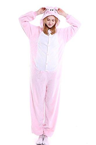ABYED® Kigurumi Pigiama Anime Cosplay Halloween Costume Attrezzatura,rosa Maiale Taille adulte XL -pour Hauteur 175-183CM