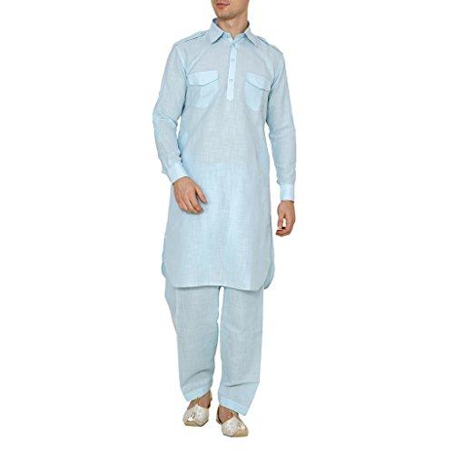 Royal Men's Cotton Pathani Suit (ROYAL_279_Turquoise_X-Large)