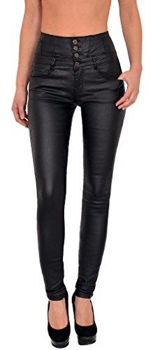 by-tex Damen Lederhose Damen Hose Skinny in Leder Optik aktuelle Farben und Designs H12