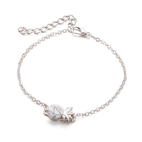 Cwemimifa Damen Armband Lebensbaum aus 925 Sterling Silber Kristallen von Swarovski,Frauen-Weinlese-nettes Ananas-Frucht-Armband-Handgelenk-Ketten-Charme-Schmuck-Geschenk,Silber