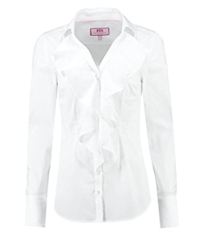 Women's White Fitted Shirt with Frill Detail - Elegant Long Sleeve Stretch Shirt for Ladies
