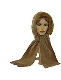 GIZZY® Adults Fleece Hooded Scarf with Faux Fur Edge.
