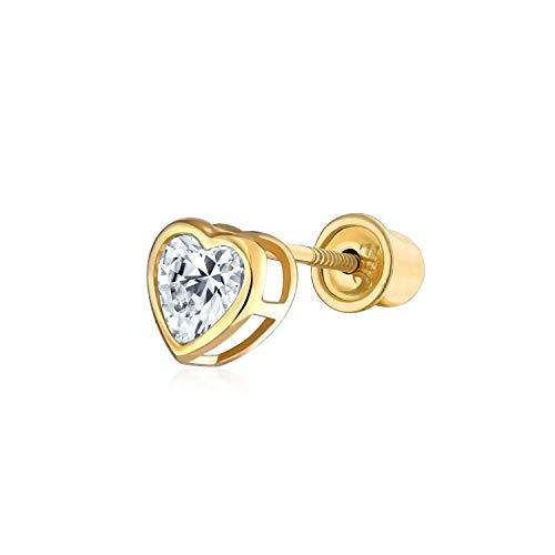 Zirkonia Helix Knorpel Ohr Piercing CZ Lünette Herz 1 Stück Ohrstecker Echte 14K Gold Schraubverschluss Ohrringe 4MM