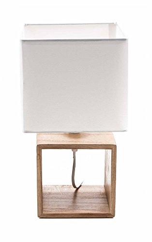 Unbekannt Tischlampe von Grundig, Holz-Fuß, Textil-Schirm, Design elegant, Form quadratisch, E14/25W max, lieferbar in 3 Größen (Höhe 33 cm)
