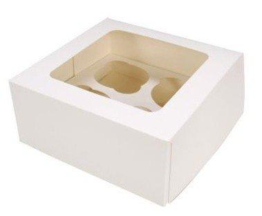25 Stk Cupcake Muffin Box 4er Aufbewahrungsbox Geschenkbox Karton Verpackung inkl. Einlage (Single Cupcake Box)