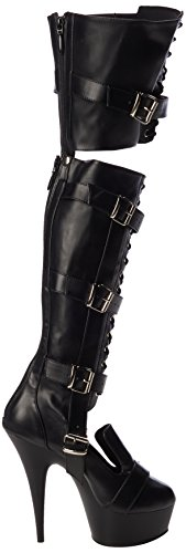 Pleaser Delight-3068, Polacchine Donna Negro (Negro (Blk Str Faux Leather/Blk Matte))