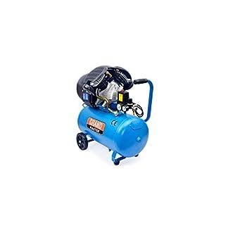 Grandmaster – Compresor de Aire 50 Litros 220V, Dos Cilindros 356L/min, 2200W/3cv, 8 Bares/118psi, Filtro de Aire, Velocidad 2850/min, Compresor Silencioso 72/94 dB, Válvula de Seguridad