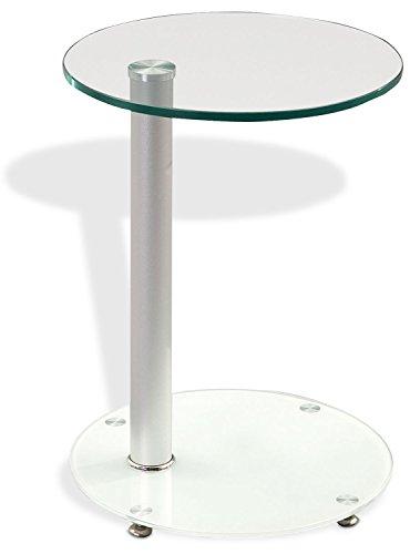 Beistelltisch Glastisch Wohnzimmertisch BUTLER 1 | Klarglas | Metall | Weißglas | Ø 38 cm -
