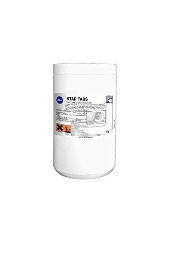 Elios - STAR TABS compresse effervescenti cloro ad elevato potere sanitizzante e a rapida PH azione. Indicato per la sanitizzazione di wc, vasche, lavelli, scarichi, cisterne di riserva d'acqua, attrezzature, mops, ecc. kg.1 - pasticche cloro da 3,3 gr.