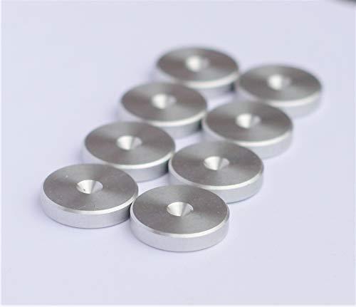 Silber Aluminium Shlank Unterlagen für Lautsprecher Spikes/Boxen Spikes. ø 20mm - 8 Stück