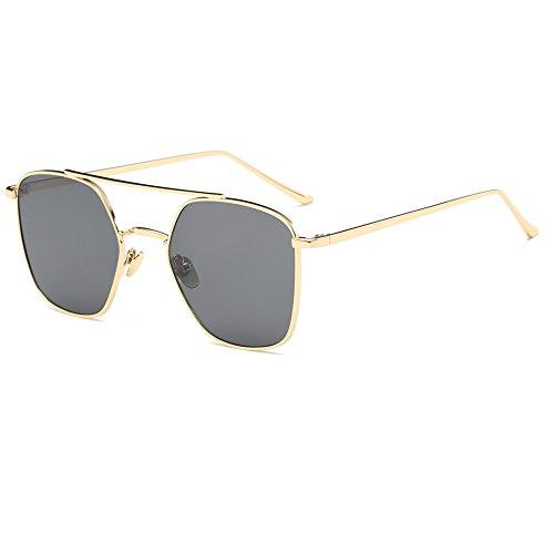 NUVOLA Sonnenbrille UV Brille Damen Herren modische graue Gläser goldener Rahmen ein schönes Geschenk zum Valentinstag