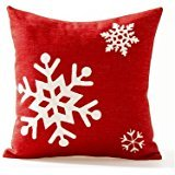 white-on-red-snowflake-ice-crystals-lkwu1884-decorative-cotton-linen-blend-throw-pillow-cover-square