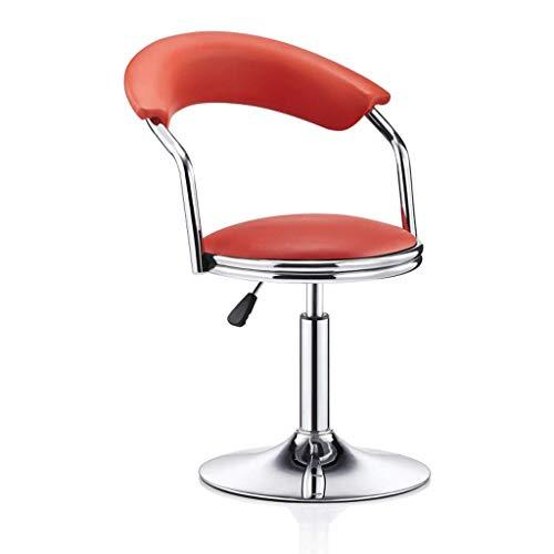 WEHOLY Metallstuhl Rotation kann angehoben und abgesenkt Werden Einfacher Hochhocker Hohe Rückenlehne Rezeption Hocker Cafe Freizeitstuhl (Farbe: gewöhnliches Leder rot, Größe: Niedrig) -