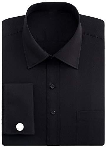 - Knopf-manschette-button-down-hemd (J.VER Herren Business Normale Passform Hemden Französische Manschette mit Metall-Manschettenknöpfen Lange Ärmel - Farbe:Schwarz, Größe:DE 41 - Ärmellänge 89 cm)