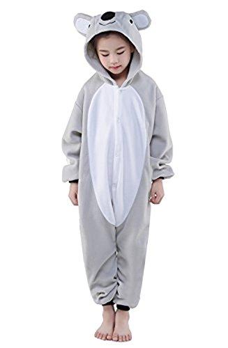 VineCrown Schlafanzug Tier Pyjamas Overall Karikatur Neuheit Jumpsuit Kostüme für Kinder Weihnachten Karneval Cosplay (105 for 115-124cm, koala)