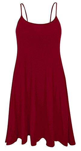 Funky Boutique Jupe Patineus'à bretelles pour femme Mini robe Cami Débardeur Swing : 8-26 Rouge - Bordeaux