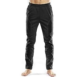 INBIKE Pantalones Hombre, Pantaones Ciclismo Hombre, Pantalones Deportivos Hombre Impermeable Elásticos para Fitness Fútbol Yoga(Negro,L)