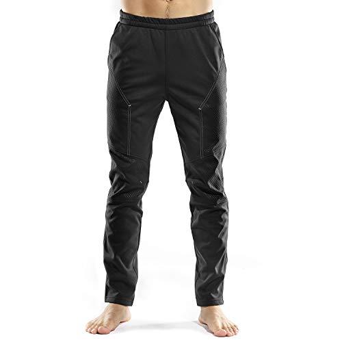 INBIKE Pantaloni Lunghi Invernali Antivento Termici per Ciclismo Traspirante da Uomo Outdoor Sports(Nero&Grigio,XL)