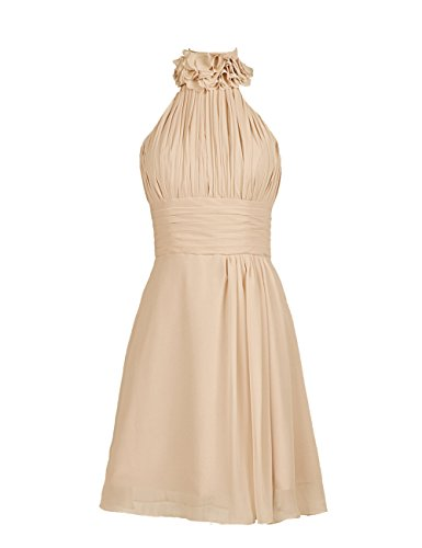 Dresstells, Robe de demoiselle d'honneur mousseline dos nu sans bretelle avec fleur Champagne