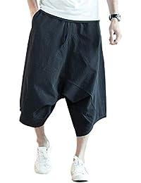 Pantalones 7 8 DE Los Hombres Pantalones Cortos De Tamaños Cómodos Verano  De Gran Tamaño con Cordón Vintage Bermuda Cargo… 673c9e0151d3