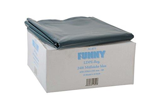 Funny LDPE-Regenerat Müllsäcke, blau, lose, 240 l, Typ 80, 1er Pack (1 x 100 Stück) (Säcke Große)