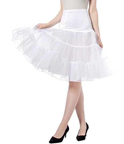 Petticoat Vintage Retro Reifrock Unterrock Petticoat Underskirt Für Hochzeit Braut Rockabilly Kleid - Hohe Taille Faltenrock Rock Adult Tutu Tanzen Rock (White, XL) -
